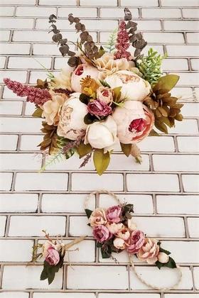 Yapay Çiçek Deposu - Gelin Buketi Madrit Şakayık Güller Krem 3lü Set