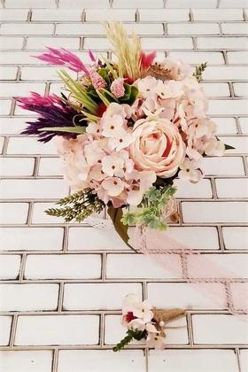 Yapay Çiçek Deposu - Maria Pudra Şakayık Güller ve Ortanca Gelin Buketi 2li Set