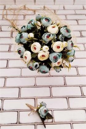 Yapay Çiçek Deposu - Gelin Buketi Zeugma Mavi Krem Şakayık Güller 2li Set (Gelin Buketi, Yaka Çiçeği)