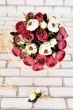 Yapay Çiçek Deposu - Gelin Buketi Menefer Bordo - Beyaz Şakayıklar 2li Set