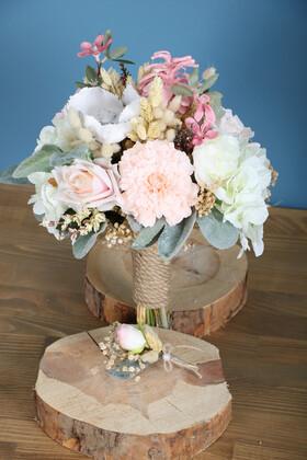 Yapay Çiçek Deposu - Gelin Buketi Venüs 2li Set