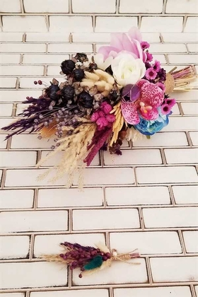 Yapay Çiçek Deposu - Gelin Buketi Mesana Manolya Papatya Şakayık Kuru Çiçek Şöleni Lila Saks Mavi 2li Set