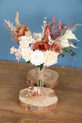Yapay Çiçek Deposu - Gelin Buketi Figor 2li Set