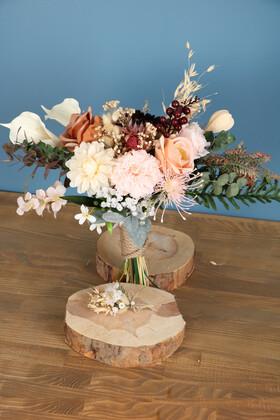 Yapay Çiçek Deposu - Gelin Buketi Monreo 2li Set