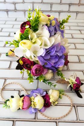Yapay Çiçek Deposu - Gelin Buketi Ortanca Karnavalı 3lü Set