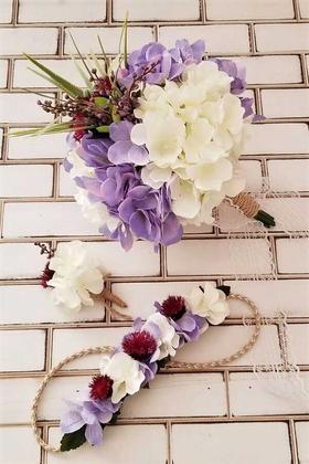 Yapay Çiçek Deposu - Gelin Buketi Metis Ortanca Beyaz Erguvan Moru 3lü Set