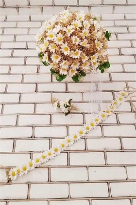 Yapay Çiçek Deposu - Papatya Kuru Çiçek Şöleni Sonora Bej Sarı Gelin Buketi 3lü Set