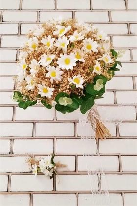 Yapay Çiçek Deposu - Papatya Kuru Çiçek Şöleni Sonora Bej Sarı Gelin Buketi 2li Set