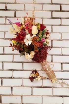 Yapay Çiçek Deposu - Lale Lilyum Gül Kuru Çiçek Şöleni Papel Gelin Buketi Bordolu 2li Set