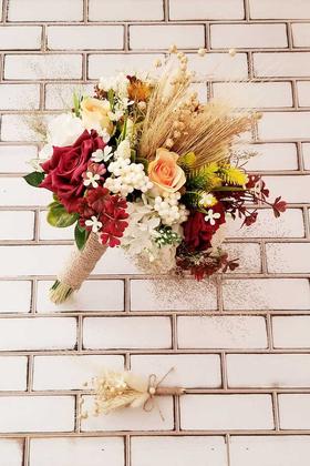 Yapay Çiçek Deposu - Gelin Buketi Rimo Pastel Tonlar Gül ve Kuru Çiçek Karnavalı Bordolu 2li Set