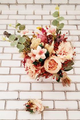 Yapay Çiçek Deposu - Gelin Buketi Safi Şakayık Güller Ortanca Kuru Çiçek Somon 2li Set