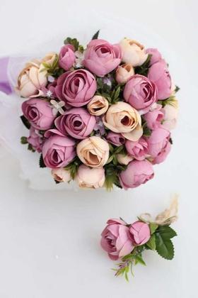Yapay Çiçek Deposu - Gelin Buketi Şakayık Güller Mor-Krem