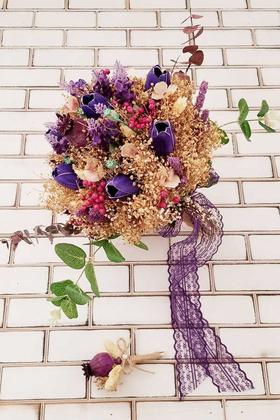 Yapay Çiçek Deposu - Mor Islak Lale Kuru Çiçek Şöleni Sarla Naturel Gelin Buketi 2li Set