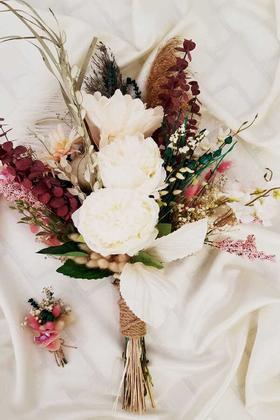 Yapay Çiçek Deposu - Exclusive Serisi Tohoma Büyük Gelin Buketi 2li Set