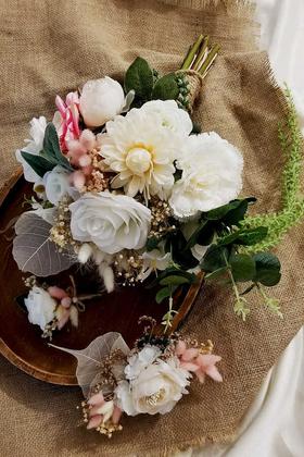 Yapay Çiçek Deposu - Gelin Buketi Fonda 3lü Set