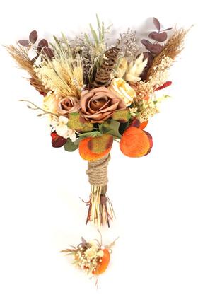 Yapay Çiçek Deposu - Gelin Buketi Sonbahar 2li Set
