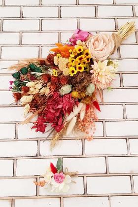 Yapay Çiçek Deposu - Papatya Şakayık Kasımpatı Kuru Çiçek Karnavalı Gelin Buketi Sori Kırmızı Turuncu Sarı 2li Set