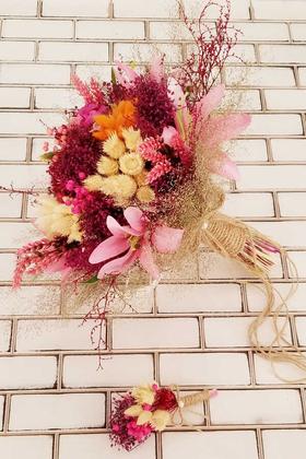 Yapay Çiçek Deposu - Gelin Buketi Tenila Lilyum ve Kuru Şöleni Pudra 2li Set