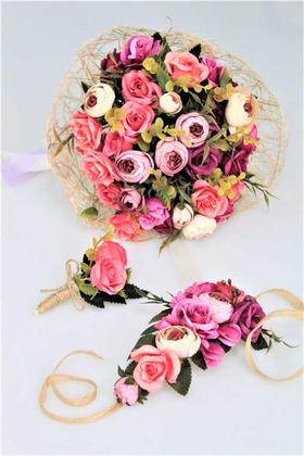 Yapay Çiçek Deposu - Gelin Çiçeği Valente 3lü Set (Gelin Buketi, Yaka Çiçeği ve Gelin Tacı)