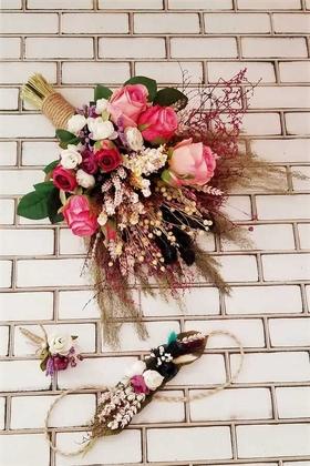 Yapay Çiçek Deposu - Vega Pembe Güller Büyük Kuru Çiçek Gelin Buketi 3lü Set