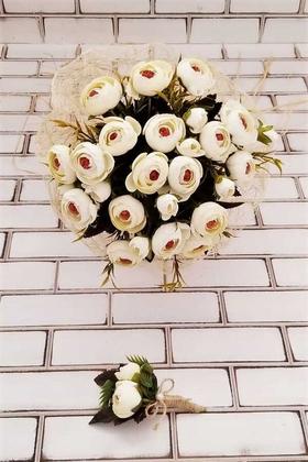 Yapay Çiçek Deposu - Gelin Buketi Zeugma Krem Şakayık Güller 2li Set (Gelin Buketi, Yaka Çiçeği)