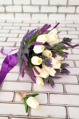 Yapay Çiçek Deposu - Gelin Buketi Zeyna 2li Set(Beyaz Islak Lale)