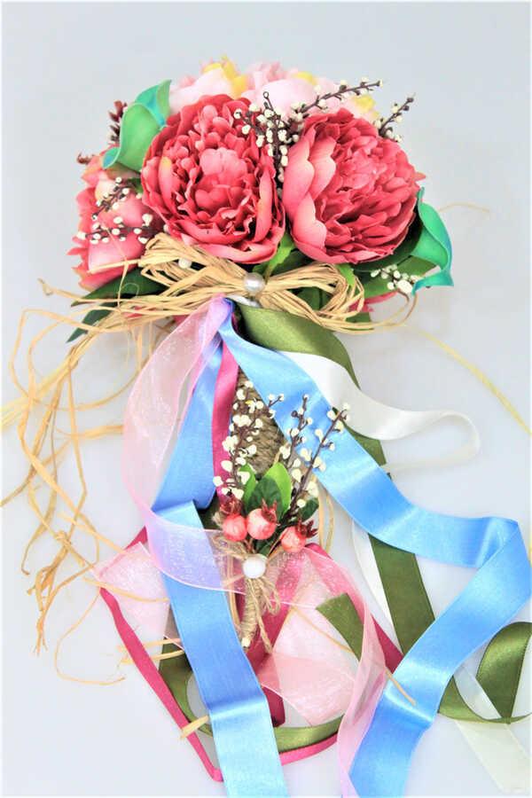 Gelin Çiçeği Alenzia 2li Set (Gelin Buketi, Yaka Çiçeği)