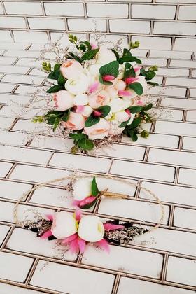 Yapay Çiçek Deposu - Gelin Çiçeği Espem Pembe Beyaz Güller 3lü Set