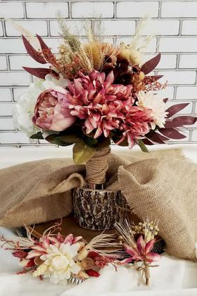Yapay Çiçek Deposu - Edita Gelin Buketi 3lü Set
