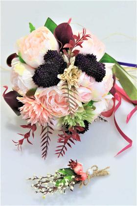 Yapay Çiçek Deposu - Gelin Çiçeği Bella 2li Set (Gelin Buketi, Yaka Çiçeği)