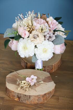 Yapay Çiçek Deposu - Gelin Buketi Merkur 2li Set