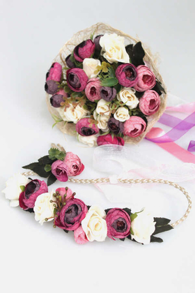 Yapay Çiçek Deposu - Gelin Çiçeği Ranya 3lü Set (Gelin Buketi, Yaka Çiçeği ve Gelin Tacı)