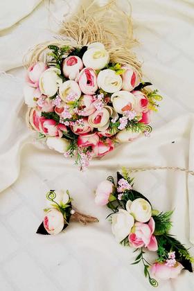 Yapay Çiçek Deposu - Gelin Buketi Anonya Şakayık Güller 3lü Set