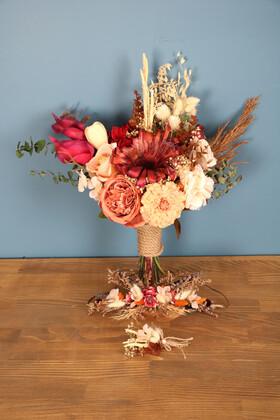 Yapay Çiçek Deposu - Gelin Buketi Açelya 3lü Set