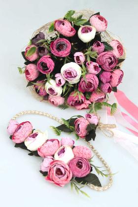 Yapay Çiçek Deposu - Gelin Çiçeği Vesta 3lü Set (Gelin Buketi, Yaka Çiçeği ve Gelin Tacı)