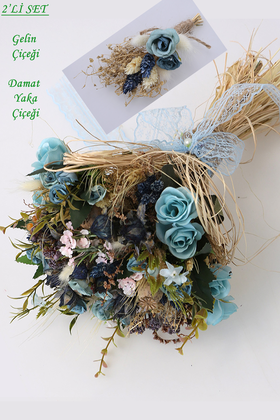 Yapay Çiçek Deposu - Mavi Tomurcuk Güllü Bali Gelin Buketi 2li Set