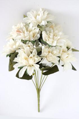 Yapay Çiçek Deposu - Gerçeğe Yakın Dahlia Yıldız Çiçeği 40 cm Kırık Beyaz