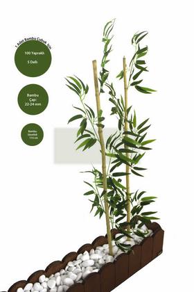Yapay Çiçek Deposu - Gerçek Bambu Yapay Yeşil Yapraklı 115 cm