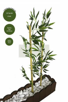 Yapay Çiçek Deposu - Gerçek Bambu Yapay Yeşil Yapraklı 95 cm