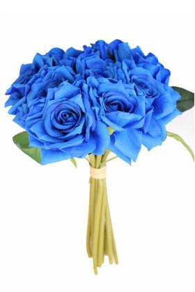 Yapay Çiçek Deposu - 10lu Lüx Gul Demeti 25 cm Saks Mavi