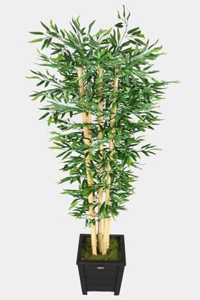 Yapay Çiçek Deposu - Kalın Çubuklu Islak Yapraklı Bambu Ağacı 5 Gövde 180 cm