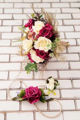 Yapay Çiçek Deposu - Minerva Mürdüm Kırık Beyaz Lüx Güller Gelin Buketi 3lü Set
