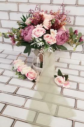Yapay Çiçek Deposu - Gül Kaktüs Kuru Çiçek 3lü Set
