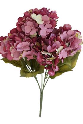 Yapay Çiçek Deposu - 5 Dal Lux Pastel Ortanca Demeti Gül Kurusu