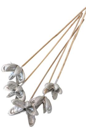 Yapay Çiçek Deposu - Tropic Bullet Flower Kuru Çiçek 5li Gümüş-Silver