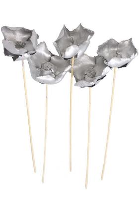 Yapay Çiçek Deposu - Kuru Çiçek 5li Palm Cap Demeti Palmcup Çiçeği 45 cm Gümüş