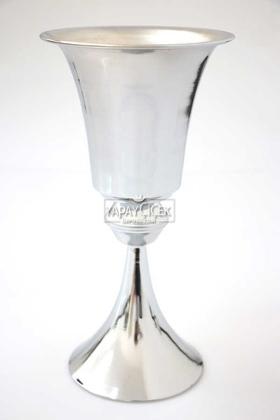 Yapay Çiçek Deposu - Dekoratif Metal Vazo 31 cm Gümüş