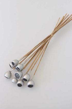 Yapay Çiçek Deposu - Dekoratif Küçük Bell Cup 10lu Tropic Kabak Gümüş