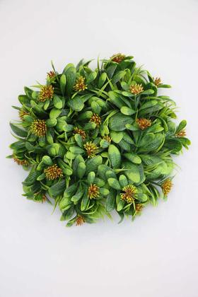 Yapay Çiçek Deposu - Yapay Bitki Kapı Süsü 25 cm Yeşil-Turuncu