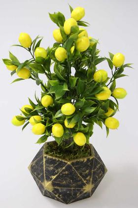 Yapay Çiçek Deposu - Handmade Beton Saksıda Yapay Limon Ağacı Geometrik Gold Saksıda 40cm